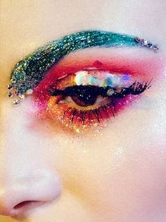 Glitter fantasy make up Diy Makeup, Makeup Inspo, Makeup Inspiration, Beauty Makeup, Makeup Ideas, Makeup Tutorials, Color Inspiration, Glitter Eyebrows, Glitter Face