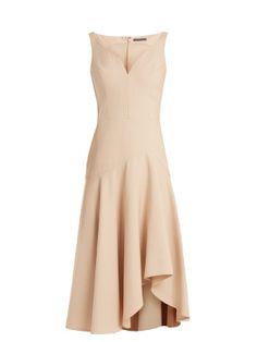 Sweetheart-neck wool and silk-blend cady dress | Alexander McQueen | MATCHESFASHION.COM US
