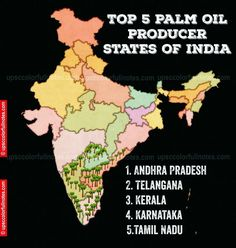 Asia Continent, India Country, Geography Lessons, Edible Oil, States Of India, Palm Oil, Knowledge, Notes, Map