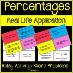 Percentages Word Problems Relay Whole Class Activity Relay Games, Cooperative Learning, Class Activities, Student Engagement, Word Problems, Fractions, Teacher Resources, Lesson Plans, Students