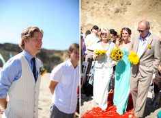 Side by side photos of groom's and bride's reaction