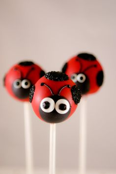 SO CUtE!! Ladybug Cake Pops by SoSweetPops on Etsy, via Etsy.