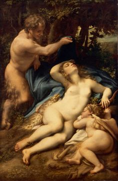 Venus and Cupid with a Satyr (c. is a painting by the Italian late Renaissance artist Antonio Allegri da Correggio. It is housed in the Musée du Louvre, Paris. Renaissance Artists, Renaissance Paintings, Italian Renaissance, Venus, Michelangelo, Art Français, Louvre Paris, Greek And Roman Mythology, Goddess Of Love