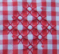 scratch embroidery Fat-Quarter: Chicken s… scratch embroidery Fat-Quarter: Chicken scratch 1 Blackwork Patterns, Hand Embroidery Patterns, Diy Embroidery, Cross Stitch Embroidery, Embroidery Designs, Chicken Scratch Patterns, Chicken Scratch Embroidery, American Girl Crafts, Gingham Fabric