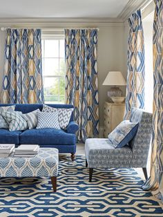 The Eden Collection by Jane Churchill at Colefax and Fowler Rotary Screen Printing, Gaston Y Daniela, Three Color Combinations, Greek Blue, Blue Living Room Decor, Curtains With Blinds, Reception Rooms, White Decor, Play Houses