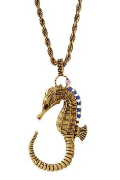 "- 14K antique gold plated and CZ accented seahorse pendant and a rope chain necklace  - Lobster clasp  - Approx. 32"" chain length with 2"" extension  - Approx. 2"" pendant length  - Imported"