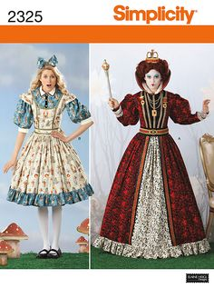 This is the new type of costume I want the Red Queen and Alice to wear. Based on the original and simple costumes from the original Alice in Wonderland I went for a different direction. These costumes are obnoxious with flamboyant patterns. Alice Costume, Queen Costume, Queen Of Hearts Halloween Costume, Halloween Costume Sewing Patterns, Halloween Costumes, Halloween Party, Queen Of Hearts Alice, Queen Alice, Alice In Wonderland Costume