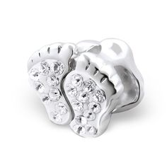 Baby Feet Real Sterling Silver Charm Bead