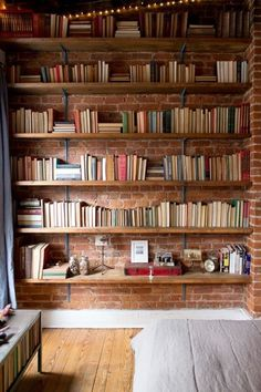 Living Room Shelves Wall Exposed Brick 57 Ideas For 2019 Cool Bookshelves, Bookshelf Design, Wall Shelves Design, Bookshelf Ideas, Diy Bookshelf Wall, Diy Wall, Home Library Design, Home Office Design, House Design