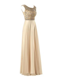 Tidetell 2015 Luxury Scoop Bridesmaid Beaded Long Crystal Prom Evening Gowns at Amazon Women's Clothing store: