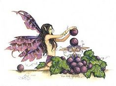 Fun With Grapes by Amy Brown - The Faerie Folk Amy Brown Fairies, Fairy Paintings, Unicorns And Mermaids, Cute Fairy, Nature Spirits, Fairy Land, Faeries, Cool Art, Awesome Art