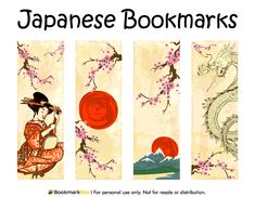 Free printable Japanese bookmarks. The bookmarks include a Japanese woman, dragon, cherry blossoms, and more. Download the PDF template at http://bookmarkbee.com/bookmark/japanese/