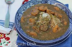 A traditional roux based gumbo made with shrimp, spicy andouille sausage and okra. Add some boiled crab bodies if you like, pass the hot sauce at the table, and add some hot, buttered French bread and a side salad to round it out.