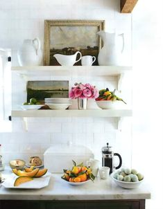 LOVE these shelves in the kitchen.