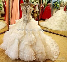 New Arrival Ball Gown Spaghetti Straps Wedding Dresses Ivory ...