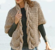 Hand Knit Long Jacket with Cables Merino Wool Pick by tvkstyle