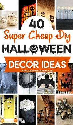 DIY dollar store Halloween Decoration Ideas to make Halloween extra spooky without spending a fortune. Here are 40 dollar store ideas that are easy to make. Halloween Wedding Decorations, Fete Halloween, Outdoor Halloween, Halloween Crafts, Halloween Pumpkins, Halloween Bark, Halloween Garage, Hall Decorations, Cheap Halloween