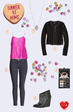 Fashion look for a romantic dinner at home for Valentine's Day @Forever 21  @Too Faced Cosmetics Cosmetics @BCBG MAX AZRIA @Lilly Pulitzer @Barneys New York  #fashion #style #looks #collage #fashionblogger #fblogger