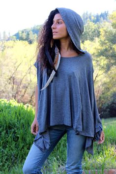 Off The Shoulder Bamboo Tee - Oversized Sexy Summer Hooded Top - Eco Friendly. $57.00, via Etsy.
