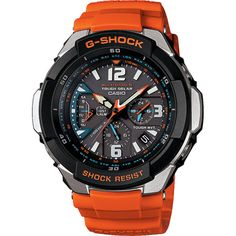 G-Shock Gravity Defier Orange Radio Controlled Watch GW-3000M-4AER: Specifically designed to match the needs of any pilot, with 15G, tough solar power and multiband 6 radio controlled technology. This watch also is shock resistant and 200 metres water resistant. There are many more features displayed on our website.