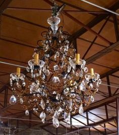 Crystal Chandelier   Black Metal   Amber Beads   Dealer #3048  Lost. . .Antiques 1201 N. Riverfront Blvd. Dallas, TX 75207  Monday - Saturday: 10am - 5pm Sunday 11am - 5pm  Find it all
