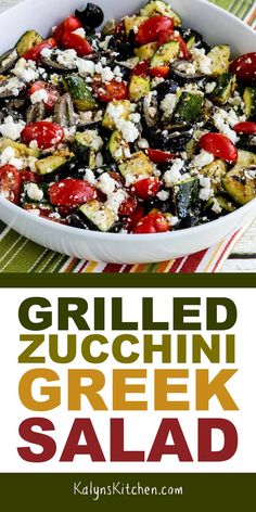 In this delicious Grilled Zucchini Greek Salad grilled zucchini replaces the cuc. - In this delicious Grilled Zucchini Greek Salad grilled zucchini replaces the cucumber for a tasty l - Vegetarian Recipes, Cooking Recipes, Healthy Recipes, Healthy Meals, Keto Recipes, Zuchinni Recipes, Grilling Recipes, Grilled Zucchini, Zucchini Salad