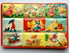 A wonderful Page of London tin litho watercolors paint box featuring 9 vignettes of seasons and children - birds, mushrooms, etc. Vintage Tins, Vintage Dolls, Vintage Art, Vintage Beauty, My Childhood Memories, Childhood Toys, Painted Boxes, Vintage Games, Tin Toys