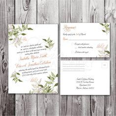 Floral Garden Calligraphy Diagonal Wedding Invitation & RSVP Postcard Set with DIY/Printable Option. $1.50, via Etsy.