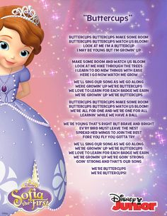 "The lyrics to ""Buttercups"" from Sofia the First."