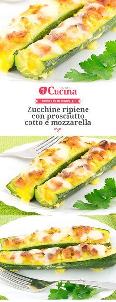 #Zucchine ripiene con #prosciutto cotto e #mozzarella