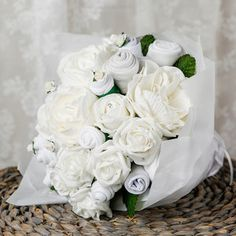 Small Baby Clothes Bouquet in Classic White