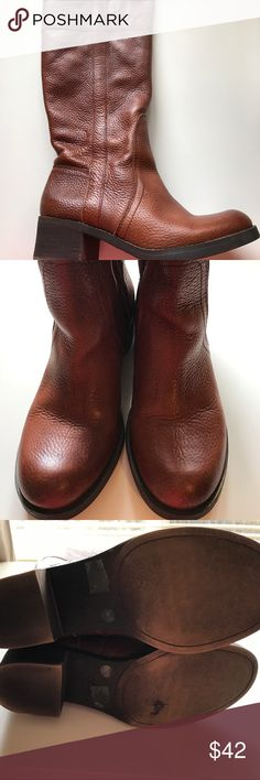 "Lucky Brand riding boots Fun ""Bourbon"" colored pull on riding boots with a low heel. Excellent condition - no scuffs or marks. Leather upper with man-made sole. Lucky Brand Shoes Winter & Rain Boots"