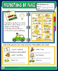 PLACE PREPOSITIONS - STUDY WORKSHEET http://eslchallenge.weebly.com/pack-2.html