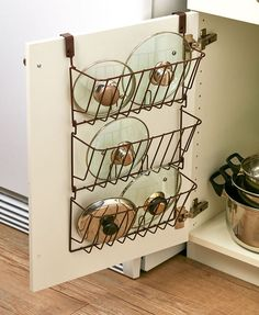 Cabinet Lid Organizer Pots Containers Storage Over Door Space Saver Bronze White