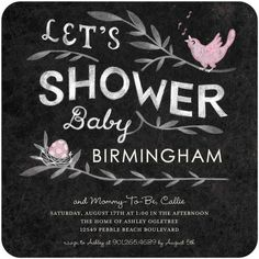 Baby Shower Invitations Baby Birdsong - Front : Blush