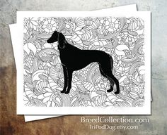Saluki Hound Breed Dog Zentangle Silhouette Card from the Breed Collection - Digital Download