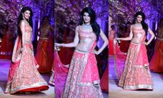 Dressed in heavily embellished pink bridal wear, Bollywood actor Jacqueline Fernandez set the ramp ablaze on day one of India Bridal Fashion...