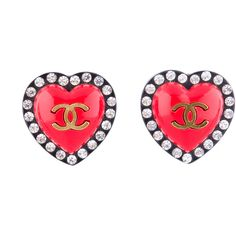 Chanel Clip-On Heart Earrings found on Polyvore