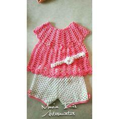 Conjunto de bebê (short-blusa-faixinha de cabelo)  #crochê #bebê #artesanato