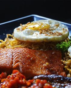 Indomie Salmon  Tryst Cafe Subang Jaya  A variety selection of good food and coffee.   #Goodfood #FreshIngredient #Coffee #Place #Shisha #Hookah #Friendshipgoals #Boardgame #Funtime