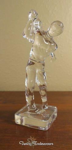 Princess House? Crystal Figurine of a Golfer Signed PH Man or Boy Swinging Club #PossiblyPrincessHouse