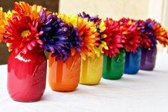 Bright DIY Rainbow Painted Mason Jar Centerpiece for summer table decor #plaidcraft