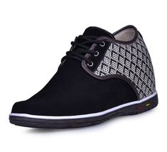 bespoke height increasing shoe - Black men height casual shoes become taller 7cm / 2.75inches from Topoutshoes store