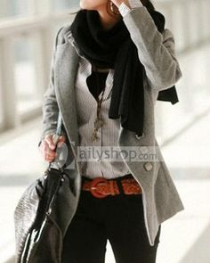 Slim Solid Single Breasted Lapel Collar Women Overcoat