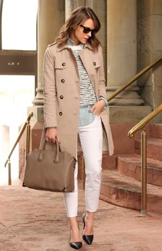shirts under chic top with trench coat and cropped pants