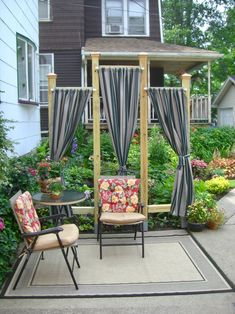Perfect for small space. This is a nice garden structure to help create a bit of privacy and I love the curtains look for a sitting area beside the beautiful garden. Outdoor Curtains, Diy Curtains, Outdoor Rooms, Outdoor Living, Outdoor Decor, Backyard Sitting Areas, Backyard Seating, Backyard Patio, Backyard Ideas