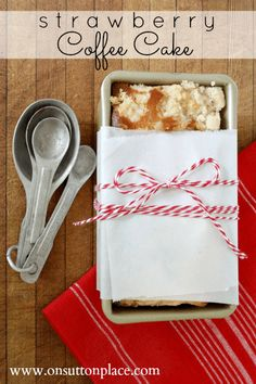 Strawberry Coffee Cake Recipe that makes enough batter to bake one and freeze one!