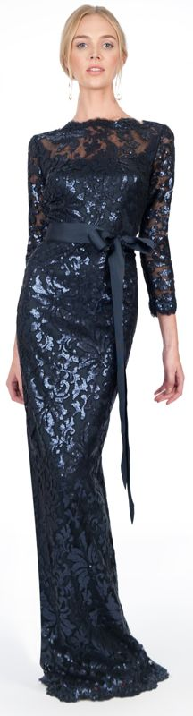 Paillette Embroidered Lace Boatneck ¾ Sleeve Gown in Navy #long #lace #dress #navy #evening #dresses #tadashi