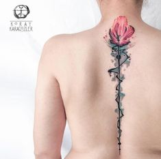 When done properly, a reduced back tattoo could be both sexy and stylish. These tattoos are usually found on older and young females. Tattoos on this particular part of the rear are very popular that Flower Spine Tattoos, Mandala Rose Tattoo, Tulip Tattoo, Beautiful Flower Tattoos, Best Tattoo Designs, Flower Tattoo Designs, Tattoo Designs For Women, Mucha Tattoo, Phenix Tattoo