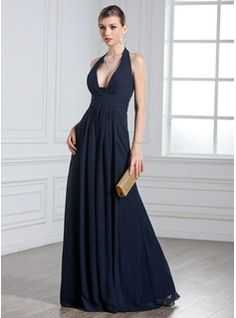 A-Line/Princess Halter Floor-Length Chiffon Evening Dress With Ruffle (017020328) - JJsHouse